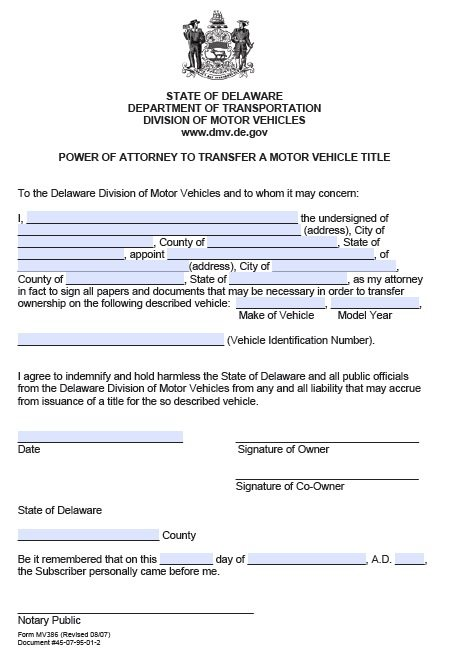 Free Motor Vehicle Transfer Power Of Attorney Delaware Pdf