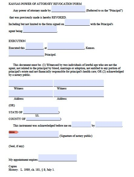 Free revocation of power of attorney form for kansas pdf for Kansas power of attorney forms